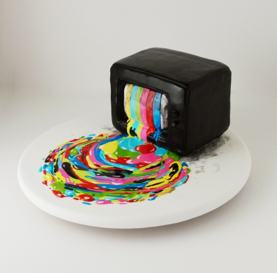 TV test pattern cake with escaping filling from Threadcakes