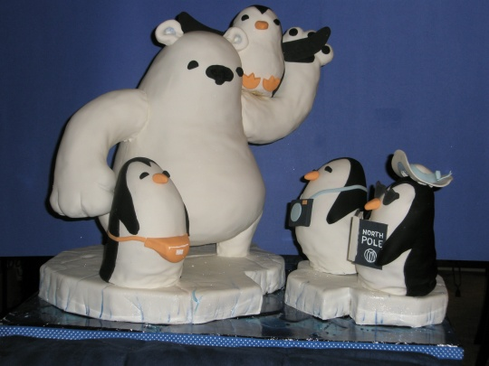 Penguins On Holiday cake from Threadcakes