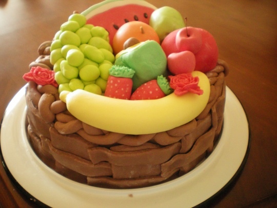 Its A Basket Made Out Of Cake And Filled With Fruits That Are In The Design